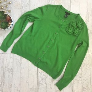 New York & Co button down green cardigan large